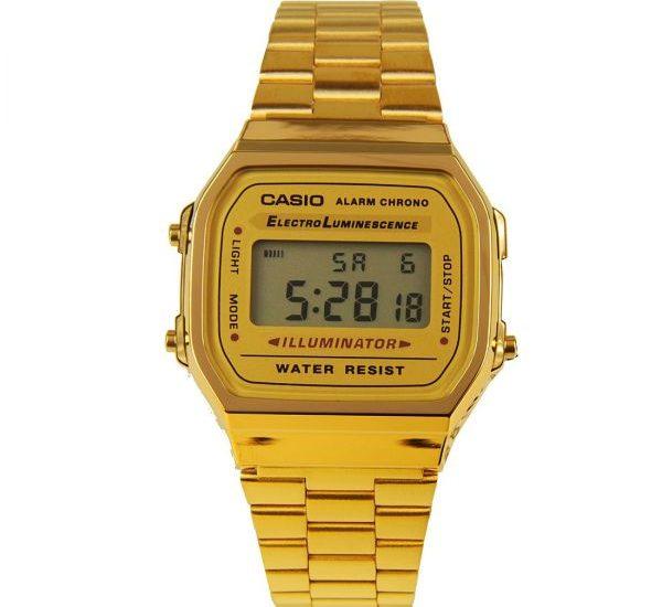 Khám phá mẫu đồng hồ dây thép không gỉ Casio A168WG 9WDF vàng