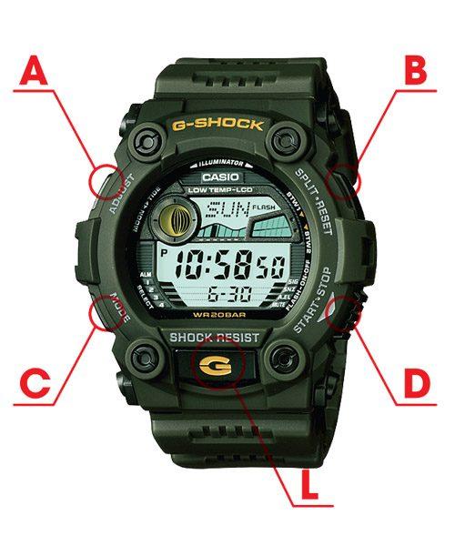 Cách chỉnh giờ đồng hồ Casio G Shock G-7900-3DR đơn giản