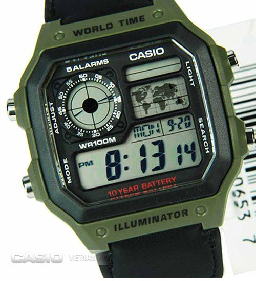 Cách chỉnh giờ đồng hồ Casio AE-1200WHB-3BV