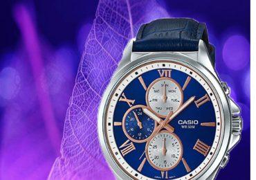 Đồng hồ Casio MTP-E316L-2A2V dây da màu xanh dương trẻ trung
