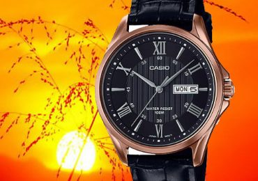 Đồng hồ Casio nam MTP-1384L-1A2V dây da màu đen mặt đen viền mạ vàng hồng