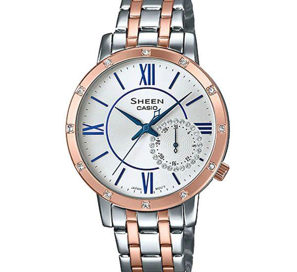 Giới thiệu đồng hồ Casio Sheen SHE-3046SGP-7BVDF dây kim loại