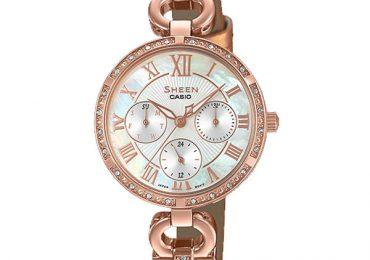 Khám phá mẫu đồng hồ Casio Nữ Sheen SHE-3067PG-7A dây kim loại cao cấp